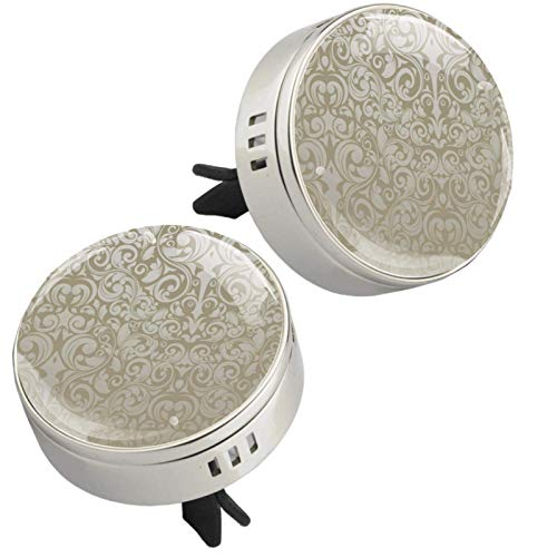 Yumansis Classic pattern Silver 2 car aroma diffuser salking aroma diffuser Alloy metal Crystal glass Aromatherapy clip + 4 Refill pads