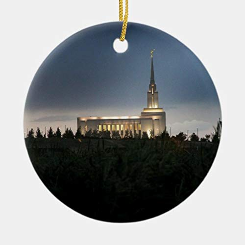 Personalized Oquirrh Mountain LDS Utah Temple Ornament 3 Ihch Ceramic Christmas Ornament