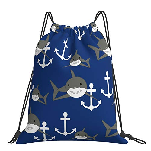 Tanersoned Shark Anchor Drawstring Bags Gym Bag Backpacks Travelling Knapsack Portable