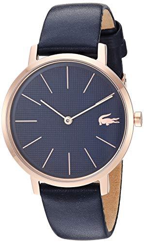 Lacoste Relógio feminino de quartzo dourado com pulseira de couro, azul, 15,3 (modelo: 2001071)