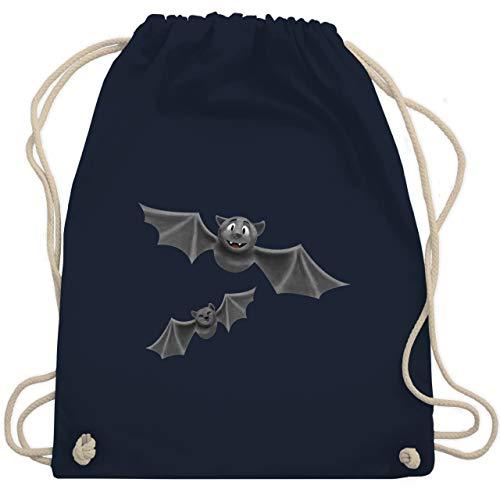 Shirtracer Halloween - süße Fledermäuse - Unisize - Navy Blau - turnbeutel fledermaus - WM110 - Turnbeutel und Stoffbeutel aus Baumwolle