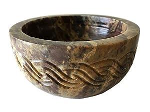 "NAI Soapstone Incense Burner Bowl/Smudge Pot/Wicca Ritual Offering Bowl Celtic Knot 4"" W x 2"" H SOB17"