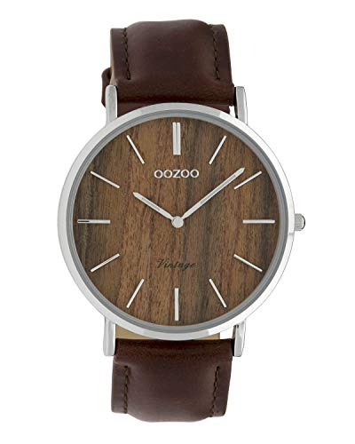 Oozoo Vintage Damenuhr Lederband Wood 40 MM Braun Holz/Dunkelbraun C9868