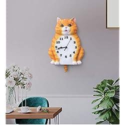 quan han Cute Cartoon Resin Animal Clock,Home Decor Wall Clock,Lovely cat Dog Indoor Living Room Pendulum Clock (cat)