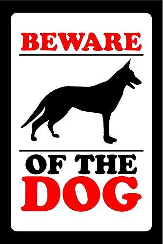 INDIGOS UG - Aufkleber - Sicherheit - Warnung - BEWARE OF THE DOG LABEL DOOR STICKER WARNING 150mm x 100mm KP-394 Sticker für Büro, Firma, Schule, Hotel, Werkschutz