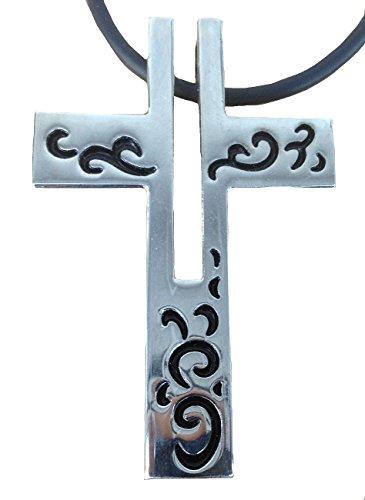 TICILA Collana unisex in caucciù con ciondolo cromato, colore argento, gioiello alla moda, croce religione
