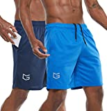 G Gradual Men's 7' Workout Running Shorts Quick Dry Lightweight Gym Shorts with Zip Pockets (2 Pack: Navy Blue/Blue Large)