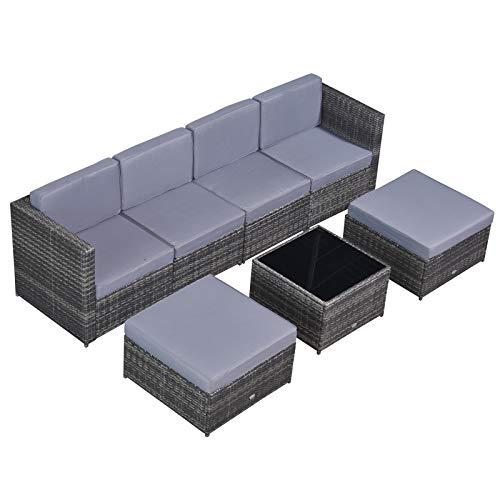 Outsunny 7-TLG. Polyrattan Gartengarnitur Gartenmöbel Garten-Set Sitzgruppe Loungeset Loungemöbel inkl. Fußhocker Sitzkissen Grau Stahl + Polyester 58 x 58 x 37 cm