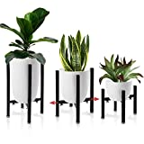 Iron Plant Stand Adjustable 3 Pack, Metal Flower Pot Planter Holder Stand Patio - Adjustable Width 8' to 15', Black Anti Rust Iron Plant Stands Indoor Outdoor (Black)