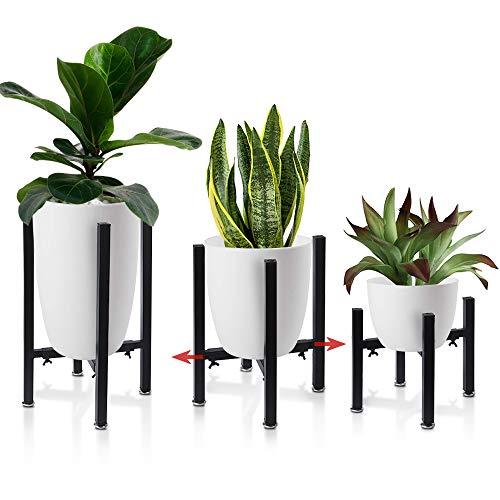 AISHN Pflanzenständer, Blumenständer aus schwarz Metall Verstellbar Multifunktional Kunst aus Eisen Pflanzenregal für Hause Zimmer Balkon, Einstellbare Breite 21 cm bis 38cm(3 Stück Set) (Schwarz-1)