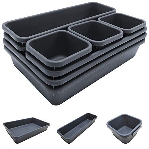 Schubladen Organizer 8 Stück, Nifogo Kunststoff Schublade Ordnungssystem mit 3 Größen, Aufbewahrungsbox für Stiftablagen, Büro, Schlafzimmer, Schminktisch Kosmetik, Küche (Grau)
