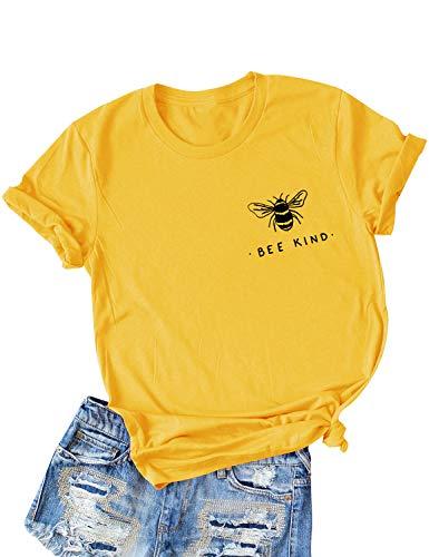 Dresswel Damen Bee Kind T-Shirt Niedliche Biene Grafikdruck Shirt Kurzarm Rundhals Top Sommer Oberteile Hemd Bluse