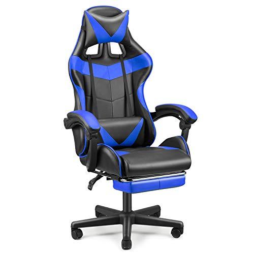 Sedia Gaming Poltrona da Gioco Ergonomica Girevole con poggiapiedi a Scomparsa Sedia da Ufficio poggiatesta e Cuscino massaggiante Lombare in Pelle PU(Blu)