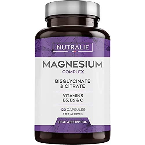 Magnesium und Vitamin B5, B6 und C | Magnesiumbisglycinat und Magnesiumcitrat 100% Bioverfügbarkeit | 120 Kapseln , 108g | Nutralie