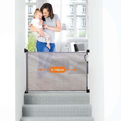Dreambaby® (0-140cm) - Einziehbares/Einrollbares Tür- und Treppenschutzgitter für Babys und Haustiere. Extra-Hoch, Versetzbar, geeignet für den Innen- und Außenbereich. 2019 Version! (Farbe: Grau)