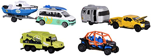 Majorette 212057610 Explorer Trailer Assortment, Entdecker-Fahrzeug inklusiv Anhänger, Miniaturfahrzeug-Set, Die-Cast, 7,5 cm