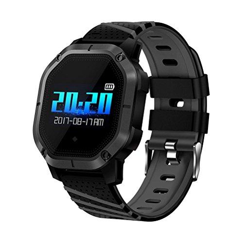 NICERIO K5 Smartwatch Farbdisplay IP68 wasserdichte Smart Watch mit Herzfrequenz-Blutdruck-Schlaf-Monitor (Schwarz)