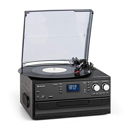 auna Oakland Retro-Stereoanlage, Bluetooth, Plattenspieler, Riemenantrieb mit 33/45/78 Umdrehungen pro Min, CD-Player, FM Radiotuner, Kassettendeck, MP3-Aufnahme, USB und SD-Slot mit MP3-Kodierung