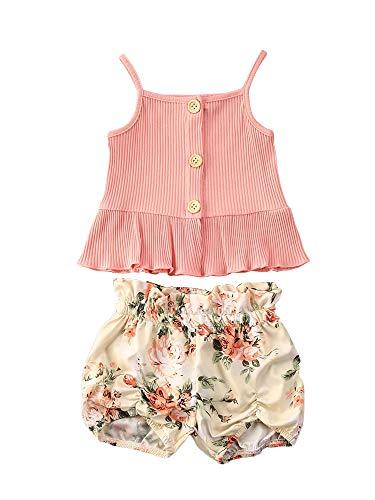 Carolilly 3Pz Tuta da Bambina Camisole in Tinta Unita e Pantaloncini Stampata Floreale con Fascia Completo Estivo (Rosa A, 5-6 Anni)