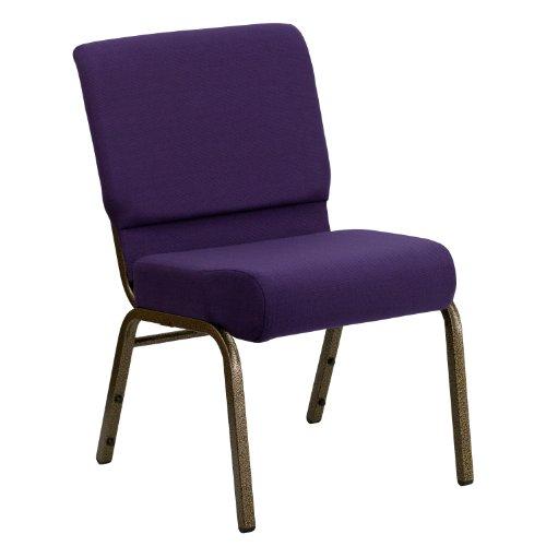 Flash Furniture HERCULES Series 21''W Stacking Church Chair in Royal Purple Fabric - Gold Vein Frame