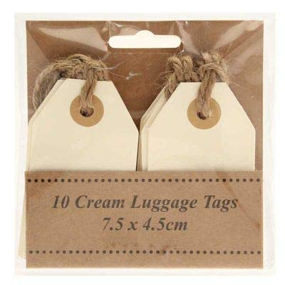 Cream Luggage Gift Tags Labels with Jute String 7.5cm x 4.5cm - 10 pk