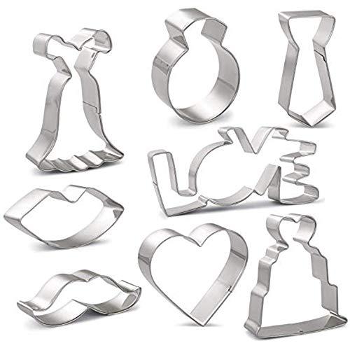 HONYAO Hochzeit Ausstechformen Set, Plätzchen Ausstecher für Brautdusche, Hochzeitstag, Valentinstag - 8 Stück - Edelstahl