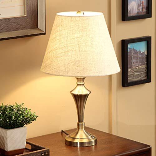Amerikaanse oogbescherming retro koperen tafellamp, hardware lampenkap hoogwaardige linnen lampenkap leeslamp, slaapkamer studie decoratie bureaulamp
