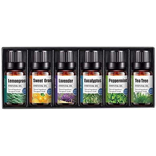 YuKeShop Ätherische Öle für Aromatherapie, 6 Stück, hochwertige Aromatherapie, ätherische Öle für Diffusor, 100 % reine, therapeutische Qualität, wasserlösliches Öl
