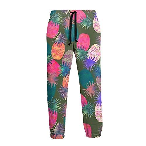 Pantalones de chándal atléticos de piñas Coloridas para Hombre Pantalones Largos de Fondo Cerrado con cordón y Bolsillos