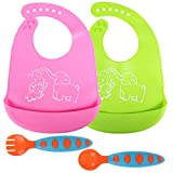 4 Packs Baby Silicone Bibs and Spoon Fork Sets Baby Self Feeding Training Spoon Fork and Waterproof Durable Adjustable Silicone Bibs for Babies & Toddlers (Color Set 2)