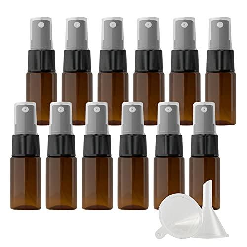 ZEOABSY 12Piezas 10ml Botella de Spray Vacía Plástico Marrón Atomizador de ViajeConjunto de Botellas, con Pulverizador de Niebla Fina Negro para Aromaterapiacon 2 Embudos