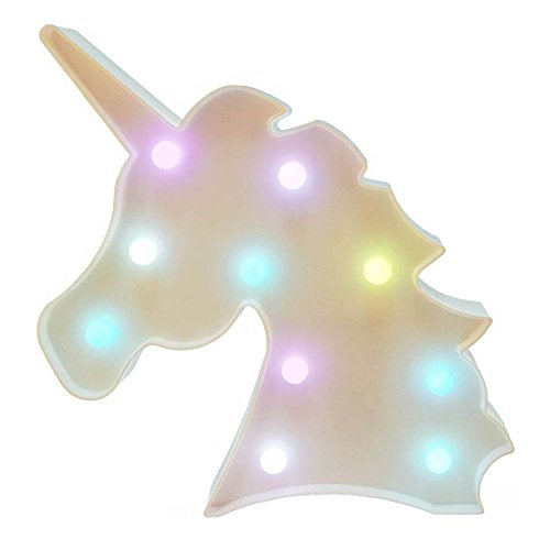 QINGYUN, lampada notturna a LED a forma di unicorno, luce per bambini, decorazione da parete per feste e Natale, alimentata a batteria Colorato