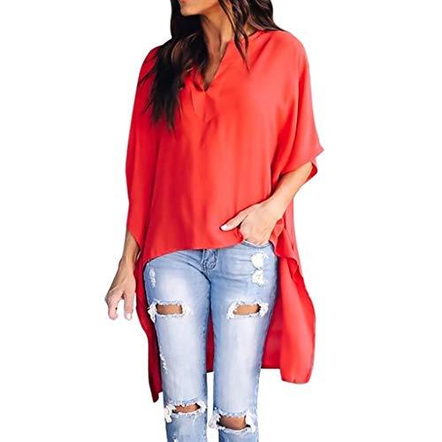 LeeMon Kleid Damen Fledermaus Ärmel T-Shirt? LeeMon Frauen Casual V-Ausschnitt Unregelmäßige Fledermaus Ärmel Lose Solide T-Shirt Top Blusen