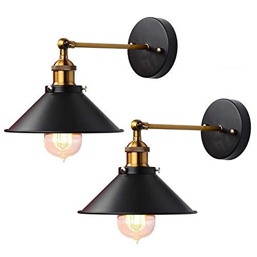 YMHPRIDE Lámpara de pared industrial, 2 paquetes, lámpara de pared de brazo largo ajustable, lámpara E27, luz rústica retro de latón antiguo para cocina,cafetería,bar,sala de estar, loft(dorado/negro)