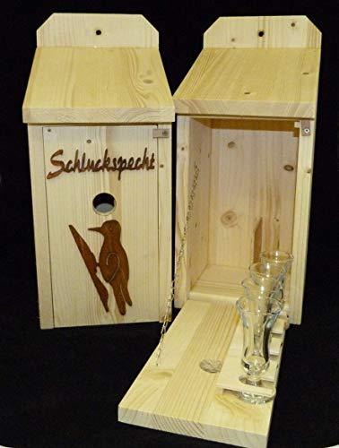 Vogelhaus Schnapsbar aus Holz Garten Geschenk Schluckspecht und Vogelmotiv