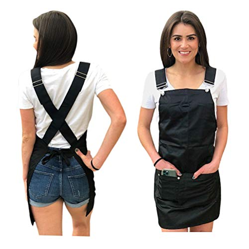 Cross Back Apron with Pockets-Black Bartender Apron Men and Women  Cooking Apron For Women with Pockets  Server Apron with 3 Pockets  Barista Apron for Bakers Florists Hair Stylists