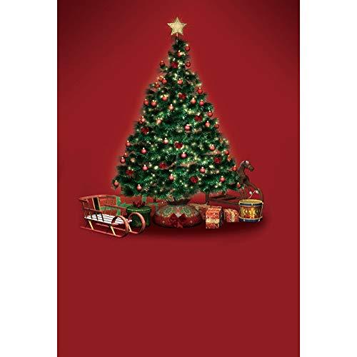YongFoto 2x3m Navidad Fondo Árbol de Navidad Estrella Trineo Caja de Regalo Fondo de Pantalla Rojo Fondo Feliz Navidad Víspera Retrato Producto Bandera Póster Fotografía Foto