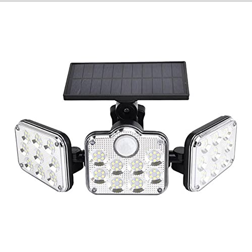LINGTH Luz solar para exteriores, 138 LED, luz de seguridad solar para exteriores, detector de movimiento, 3 modos de iluminación, IP65, resistente al agua, para jardín o terraza