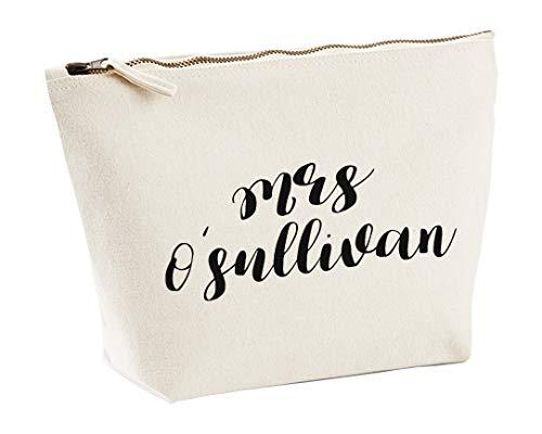 Mrs O'llivan - Trousse per trucchi personalizzata, in colore naturale, con stampa nera