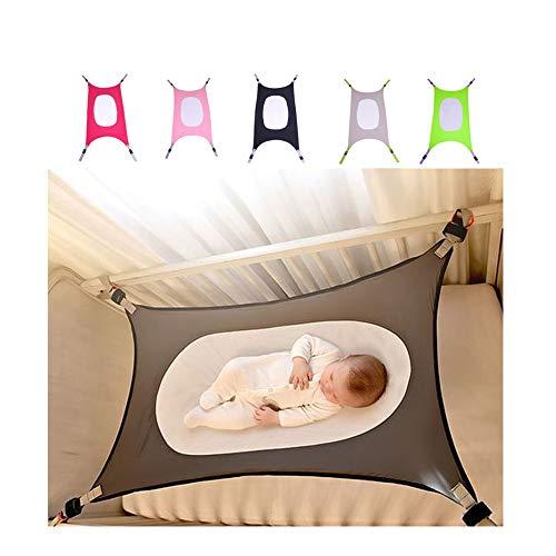 Baby-Hängematte für Babybett, Babybett, Sicherheitsbett mit bequemem, atmungsaktivem Netz, tragbar, abnehmbar, Stubenwagen, Babynest, Baby-Liege (Grey)