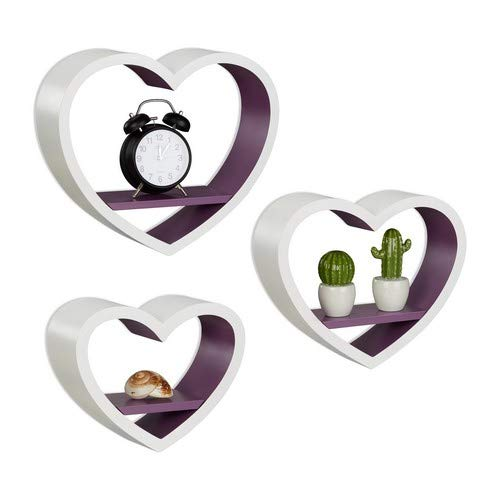 Relaxdays Wandregal Herz 3er Set, romantische Dekoregale in Herzform, belastbare Wandablagen bis 6 kg, weiß-violett
