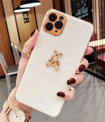 LIUYAWEI Cute Cartoon 3D Gold Bear Chapado en Silicona Suave Funda para teléfono para iPhone 11 12 Pro X XR XS MAX 7 8 Plus Funda de Lujo de Moda, Blanco, para iPhone 8
