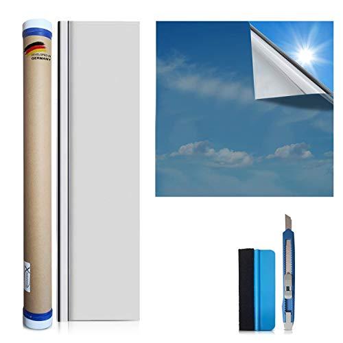 X-Solutions® | Sonnenschutz Folie | Spiegelfolie Selbstklebend | Selbsthaftend, Silber reflektierende Fensterfolie | UV-Schutz Sonnenschutzfolie Fenster innen oder außen | Sichtschutz | 45 x 200 cm