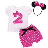 FYMNSI Conjunto de ropa 3 piezas para bebé, niñas 1, 2, 3, 4 y 5 cumpleaños, diseño Minnie con...