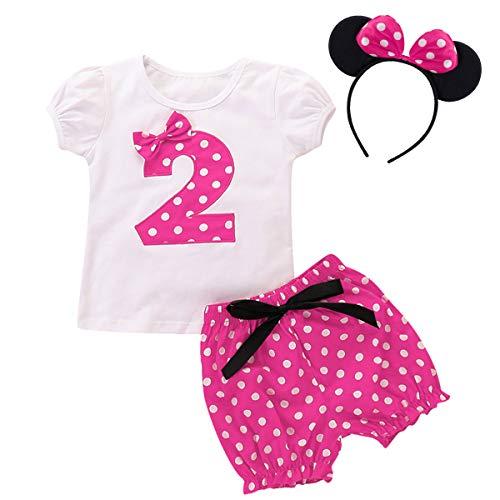 FYMNSI Conjunto de ropa 3 piezas para bebé, niñas 1, 2, 3, 4 y 5 cumpleaños, diseño Minnie con lunares, camiseta manga corta + pantalones cortos diadema las orejas. Rosa 2º cumpleaños. 18-24 Meses