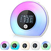 HAUEA Wake Up Light Sunrise Alarm Clock Bluetooth Speaker Table Lamp Kids Alarm Clock for Bedrooms,5 Colored 3 Natural Sounds Bedside Light, Night Light Music Player for Kids Adults