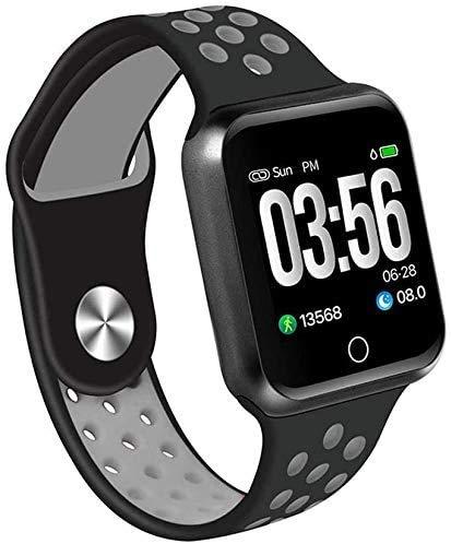 ZHENAO Fitness Tracker Smart Pulsera Tarifa Cardíaca Monitoreo de Presión Arterial Pulsera Deportiva Multi-Mode Monitoreo de Salud, Inforión Push Gray Sport Fitness Tracker Moda