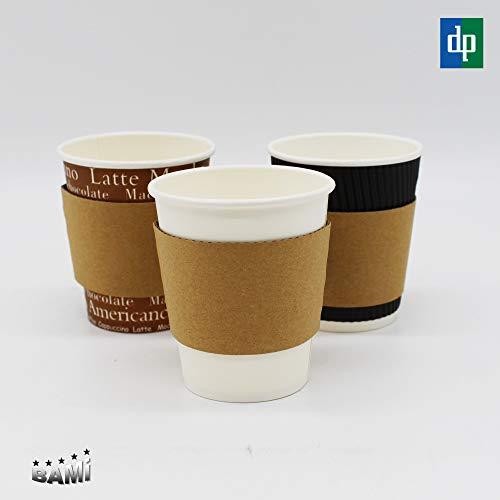 BAMI EINWEGARTIKEL 1000 Stück Bechermanschette Jacket Hitzeschutz aus Pappe für Kaffeebecher, Braun, 80mm Durchmesser