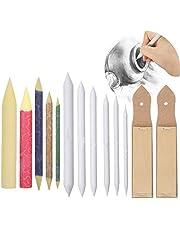 Osuter 6PCS Difuminos con 2 Papel de Lija Dibujo y 5 Colorata Difuminos para Estudiantes Artistas Dibujo de Boceto DIY Accesorios