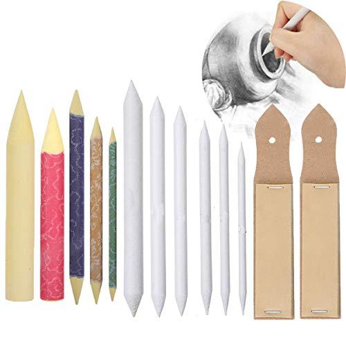 Osuter Mischen Papierwischer,6PCS Papierwischer Set mit 2PCS Schleifpapier Bleistift Spitzer und 5PCS Farbiger Papierwischer für Student Skizze Zeichnen DIY